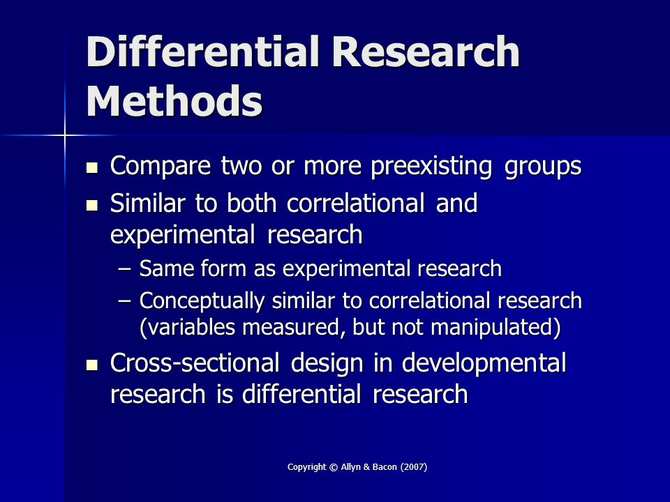 Differential Research Methods