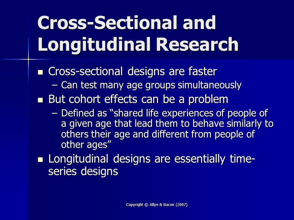 Cross-Sectional and Longitudinal Research