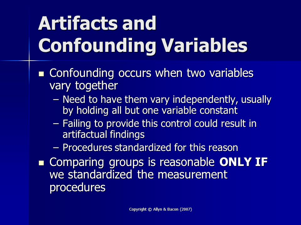 Artifacts and Confounding Variables