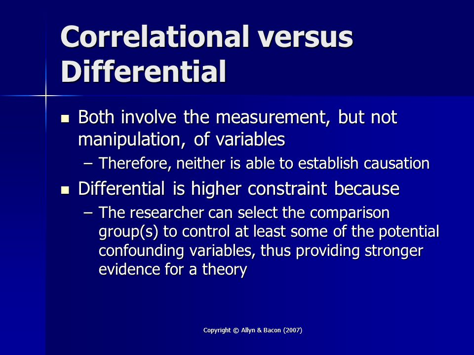 Correlational versus Differential