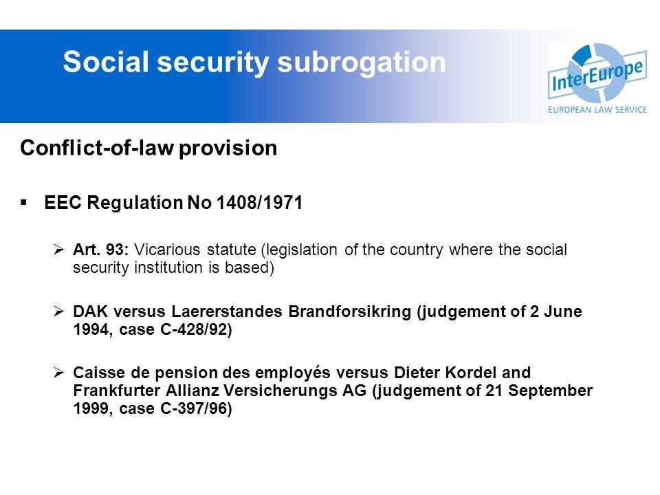 Social security subrogation