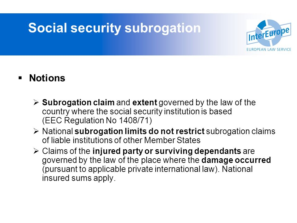 Social security subrogation