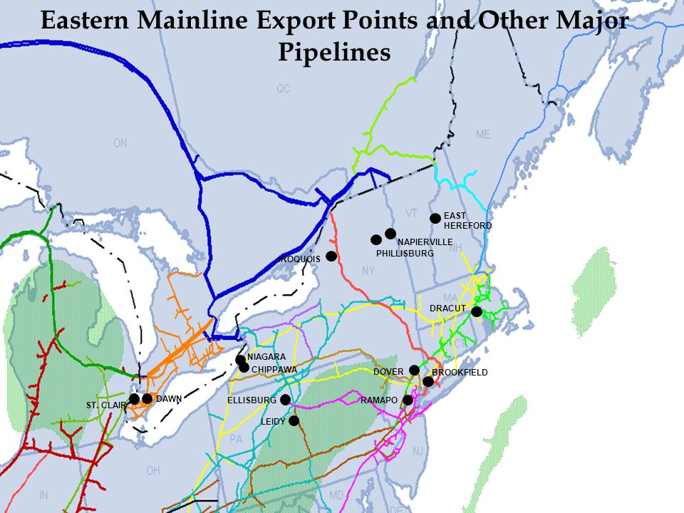 Eastern Mainline Export Points and Other Major Pipelines
