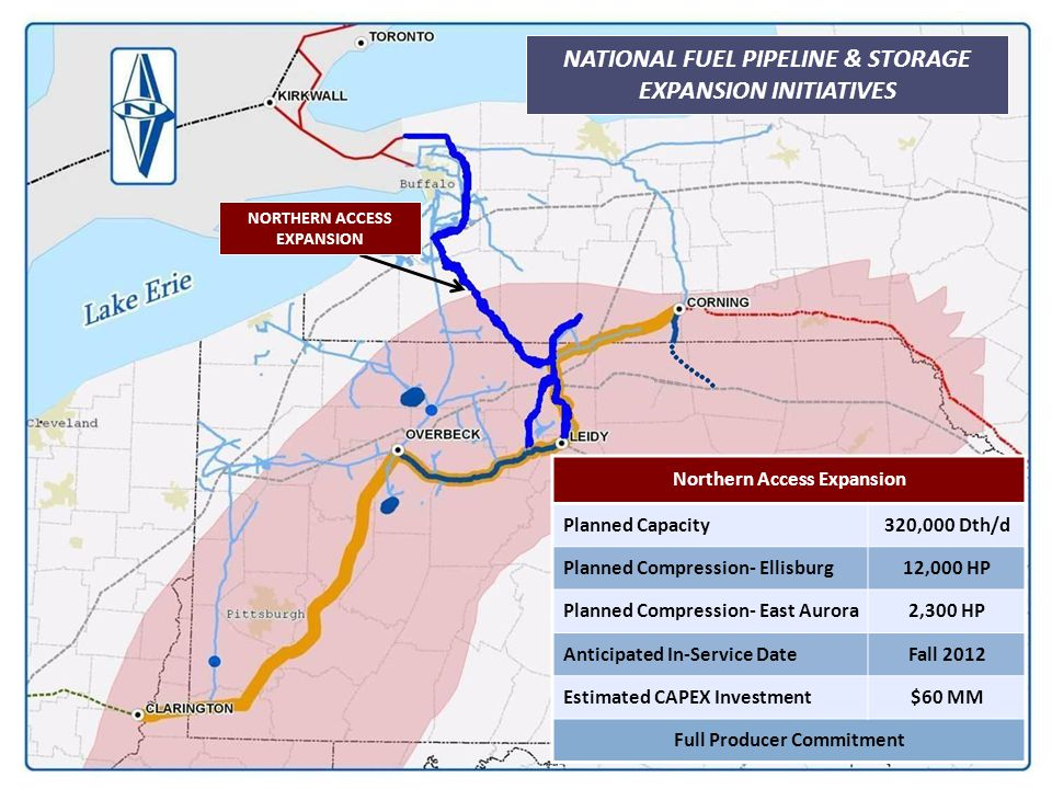 NATIONAL FUEL PIPELINE & STORAGE EXPANSION INITIATIVES