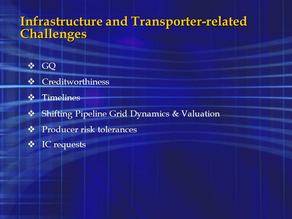 Infrastructure and Transporter-related Challenges