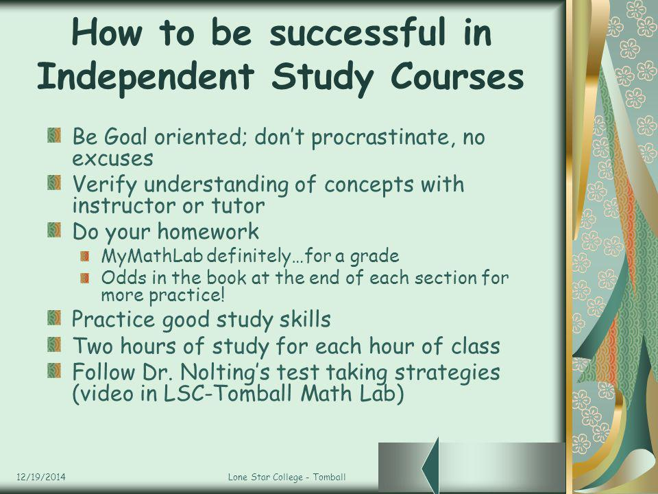 How to be successful in Independent Study Courses