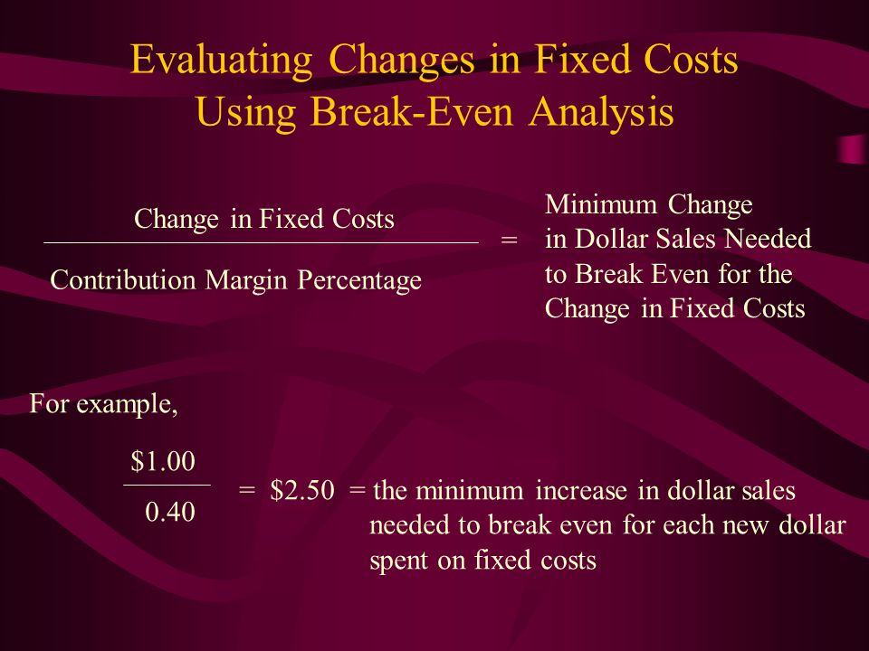 Evaluating Changes in Fixed Costs Using Break-Even Analysis