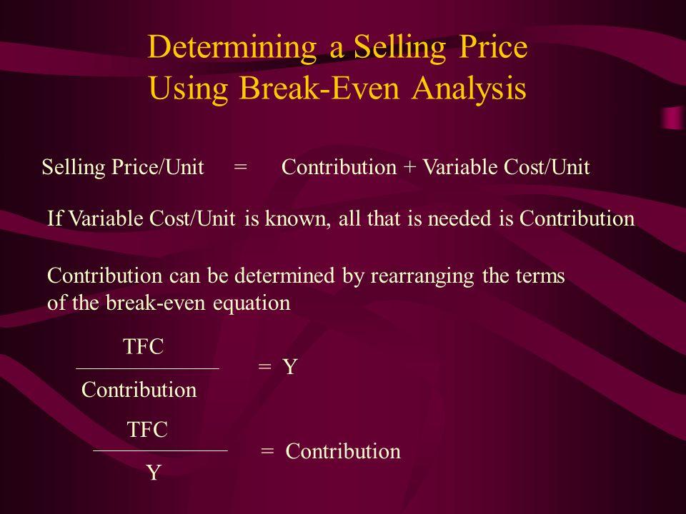 Determining a Selling Price Using Break-Even Analysis