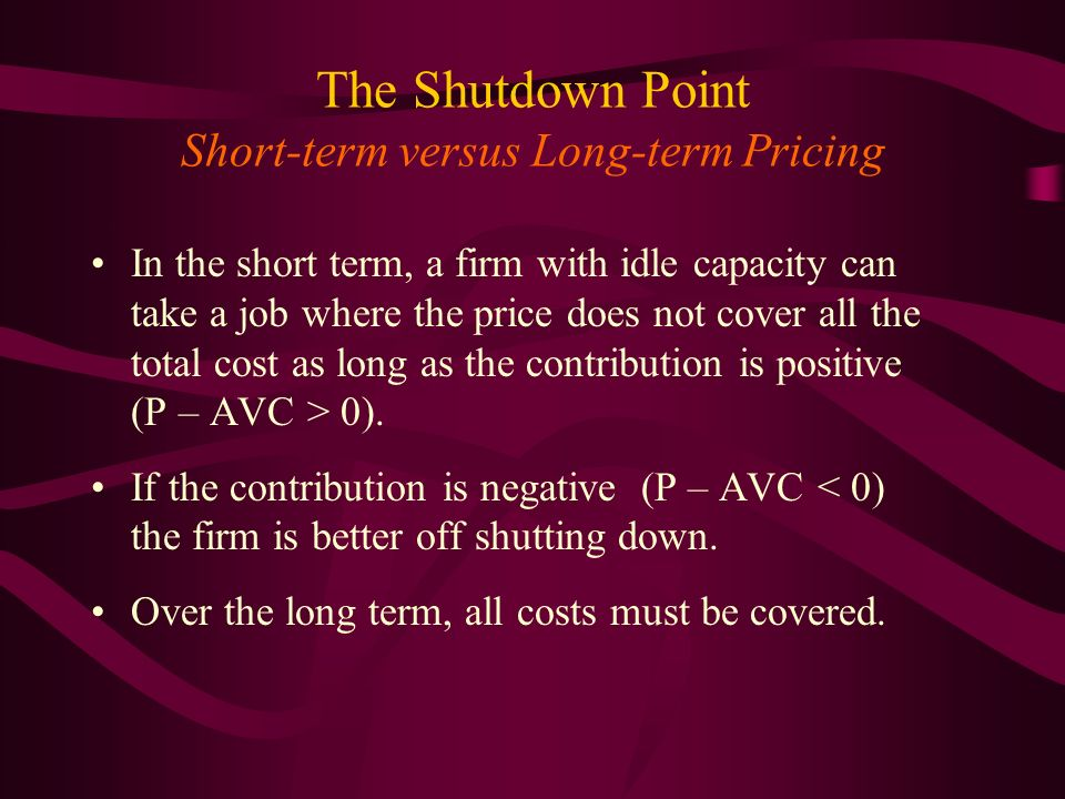 The Shutdown Point Short-term versus Long-term Pricing