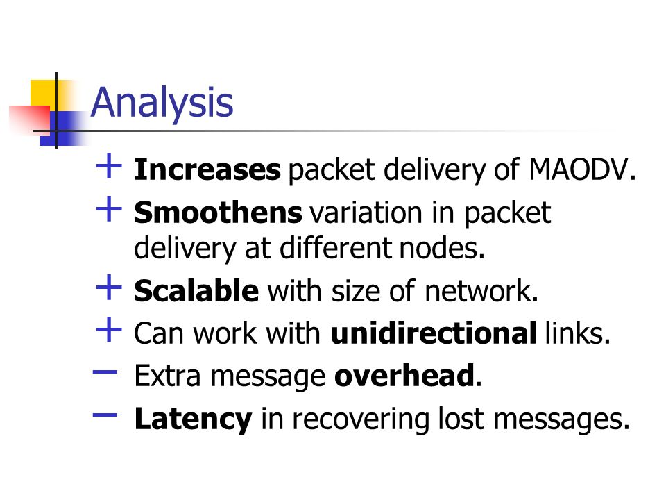 Analysis Increases packet delivery of MAODV.