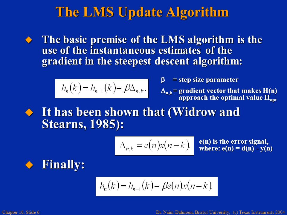 The LMS Update Algorithm