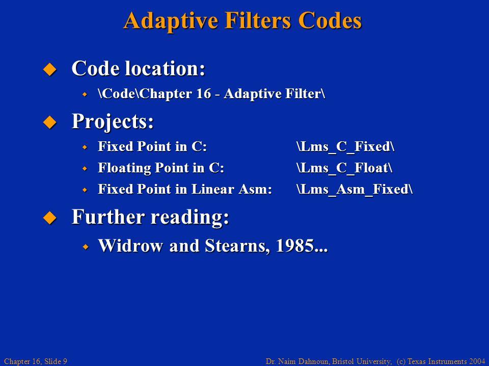 Adaptive Filters Codes