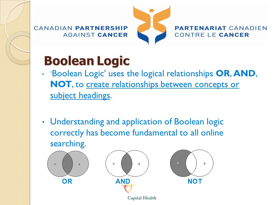 Boolean Logic 'Boolean Logic' uses the logical relationships OR, AND, NOT, to create relationships between concepts or subject headings.