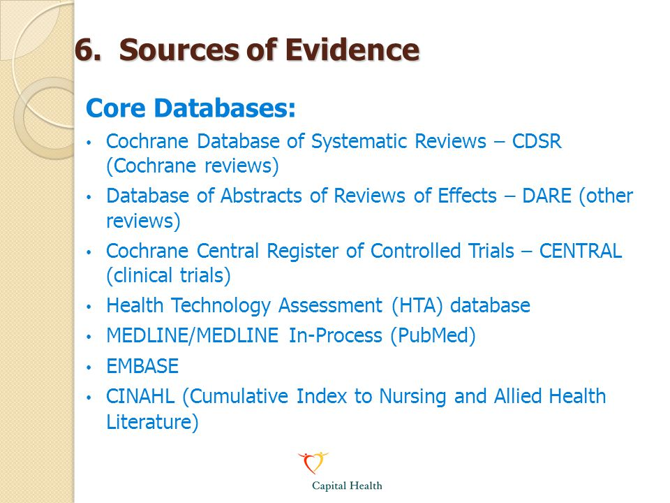 6. Sources of Evidence Core Databases: