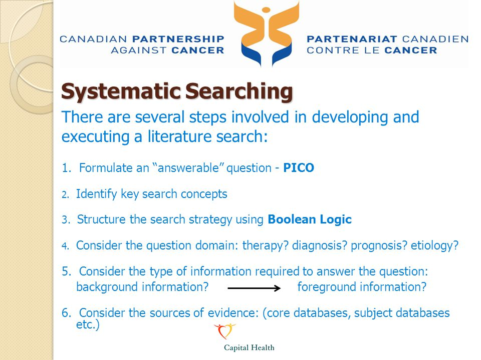 Systematic Searching There are several steps involved in developing and. executing a literature search: