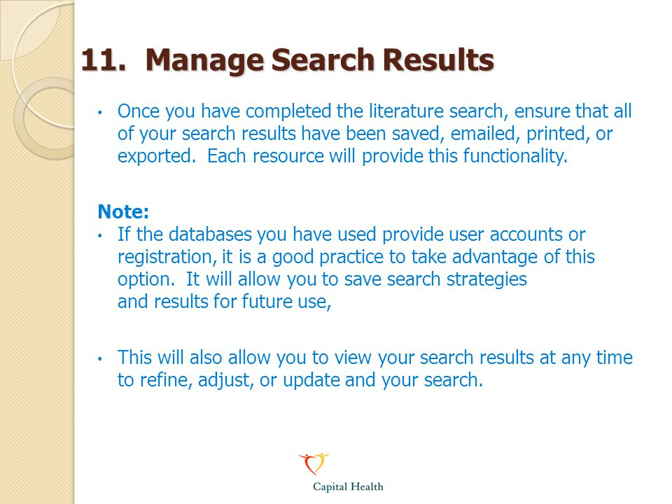 11. Manage Search Results