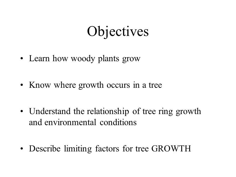 Objectives Learn how woody plants grow
