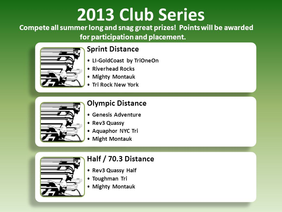 2013 Club Series Sprint Distance Olympic Distance Half / 70.3 Distance