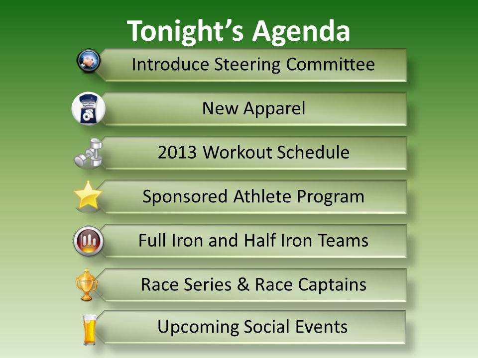 Tonight's Agenda Introduce Steering Committee New Apparel