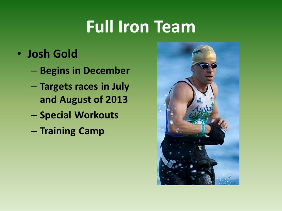 Full Iron Team Josh Gold Begins in December