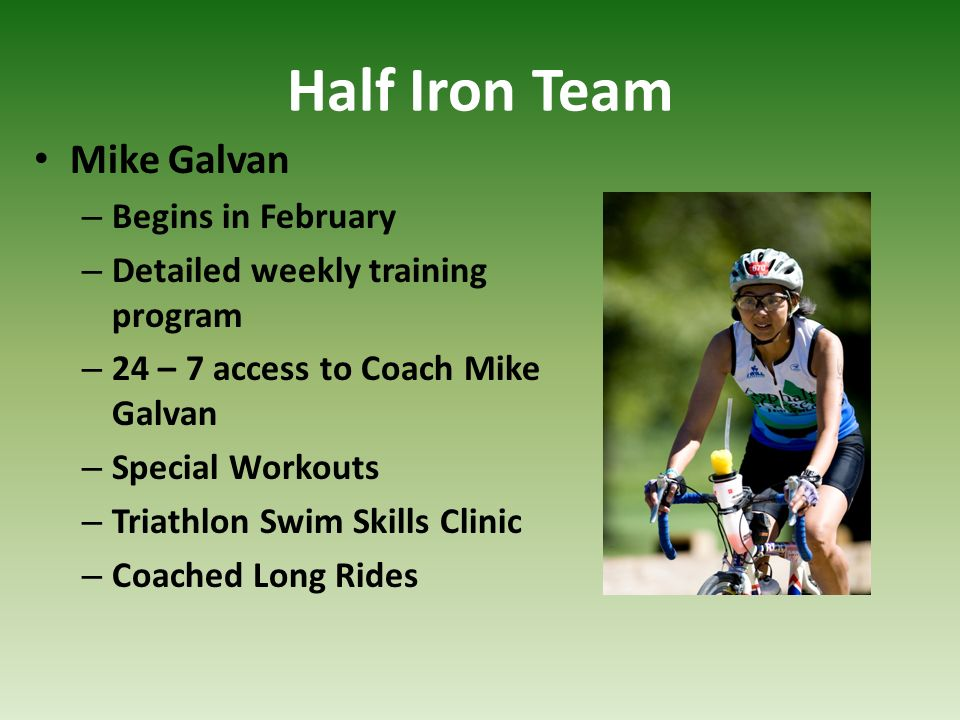 Half Iron Team Mike Galvan Begins in February