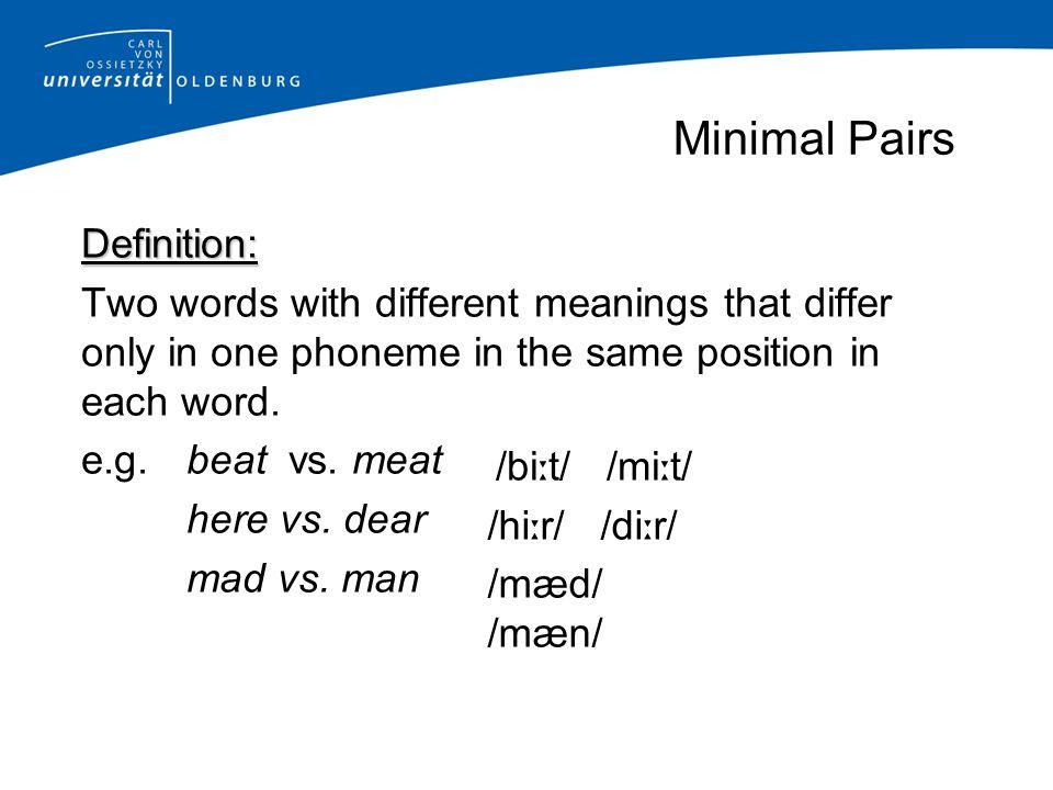 Minimal Pairs Definition: