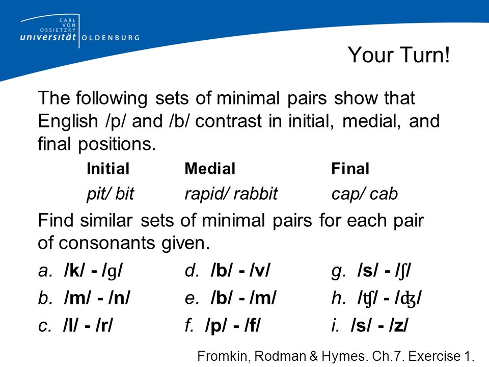 Your Turn! The following sets of minimal pairs show that English /p/ and /b/ contrast in initial, medial, and final positions.