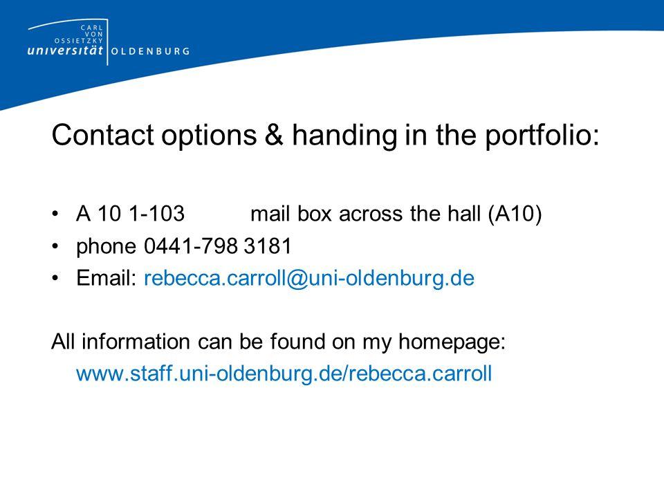 Contact options & handing in the portfolio: