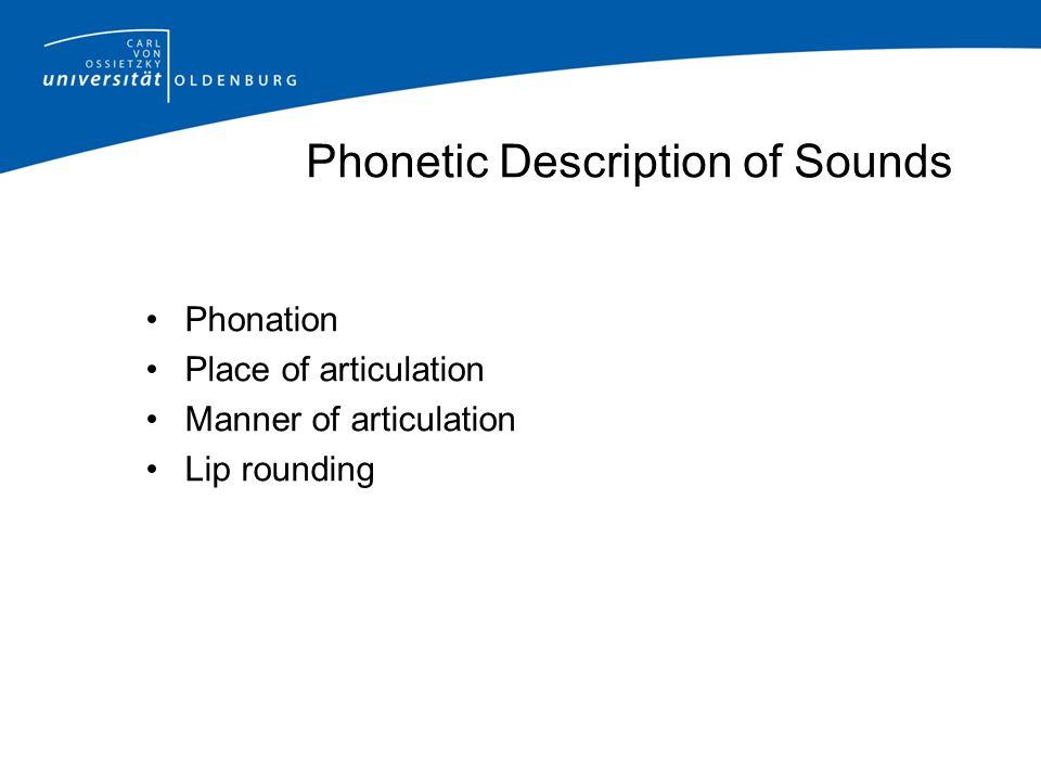 Phonetic Description of Sounds