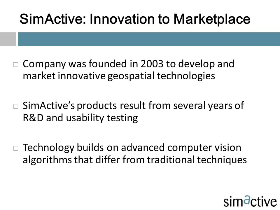 SimActive: Innovation to Marketplace