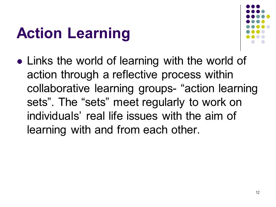 action learning a reflective process Optimizing the power of action learning: solving problems and building expert on action learning process  this reflective inquiry period develops a.