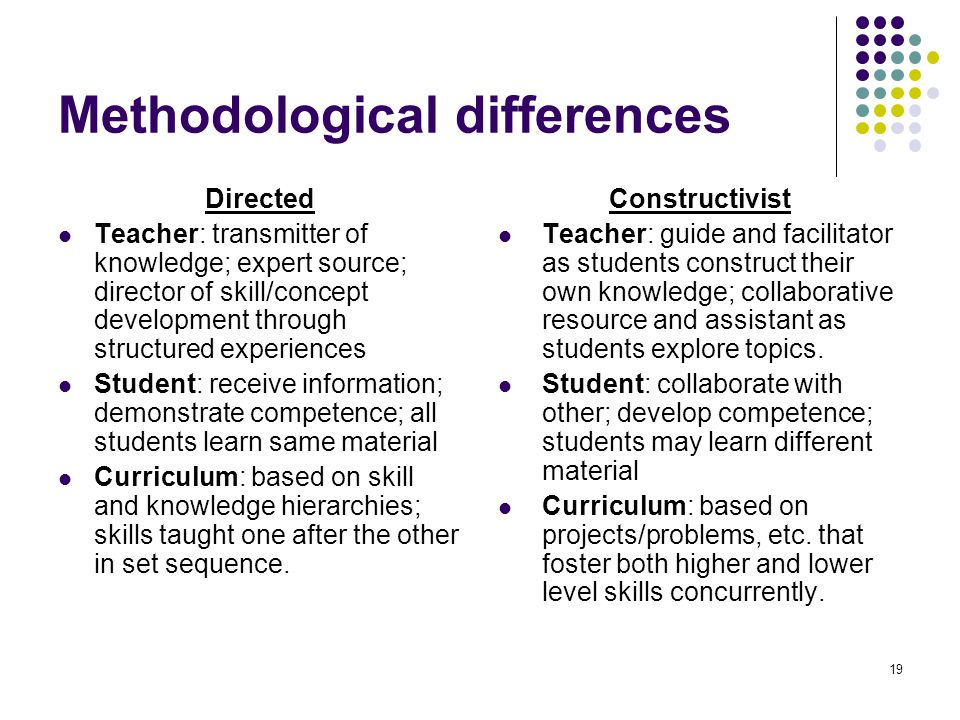 Methodological differences