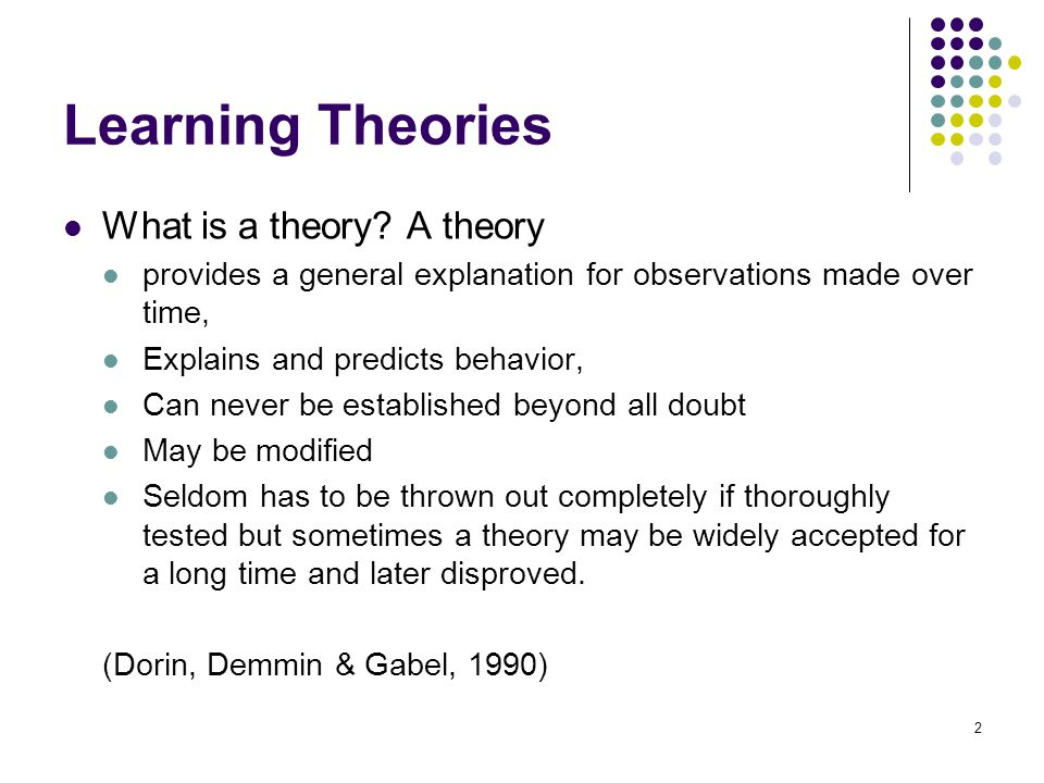 Learning Theories What is a theory A theory