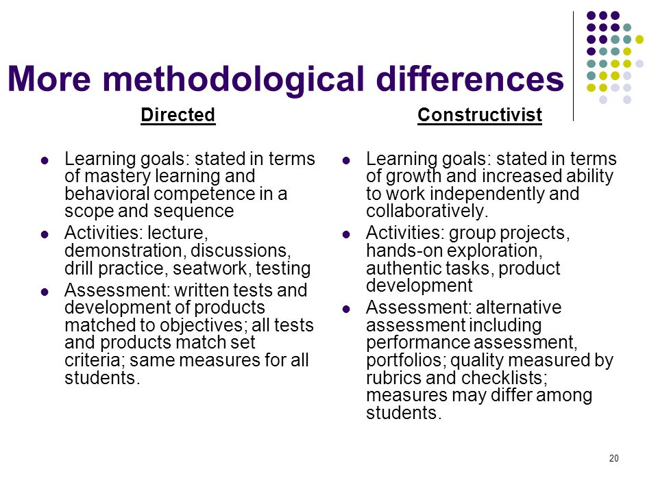 More methodological differences