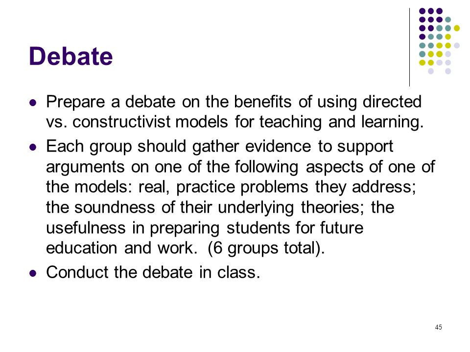Debate Prepare a debate on the benefits of using directed vs. constructivist models for teaching and learning.