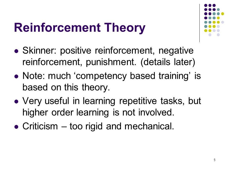 Reinforcement Theory Skinner: positive reinforcement, negative reinforcement, punishment. (details later)