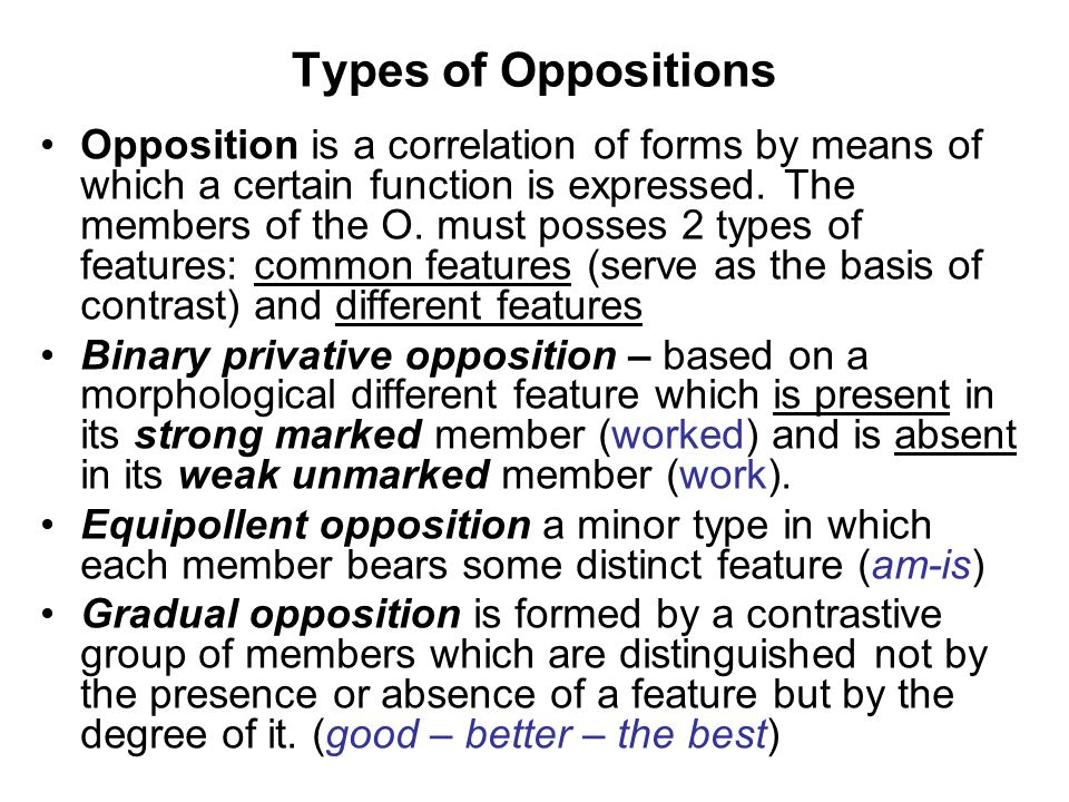 Types of Oppositions