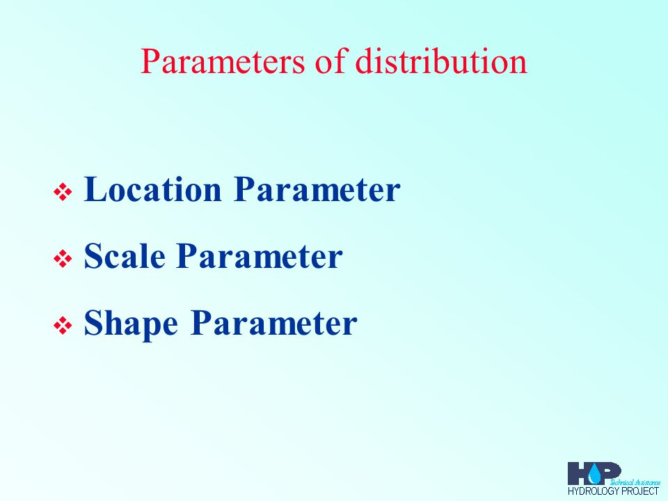 Parameters of distribution