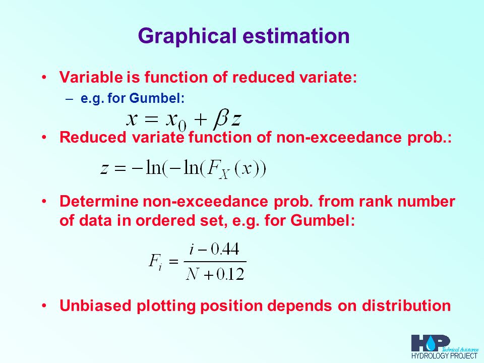 Graphical estimation Variable is function of reduced variate: