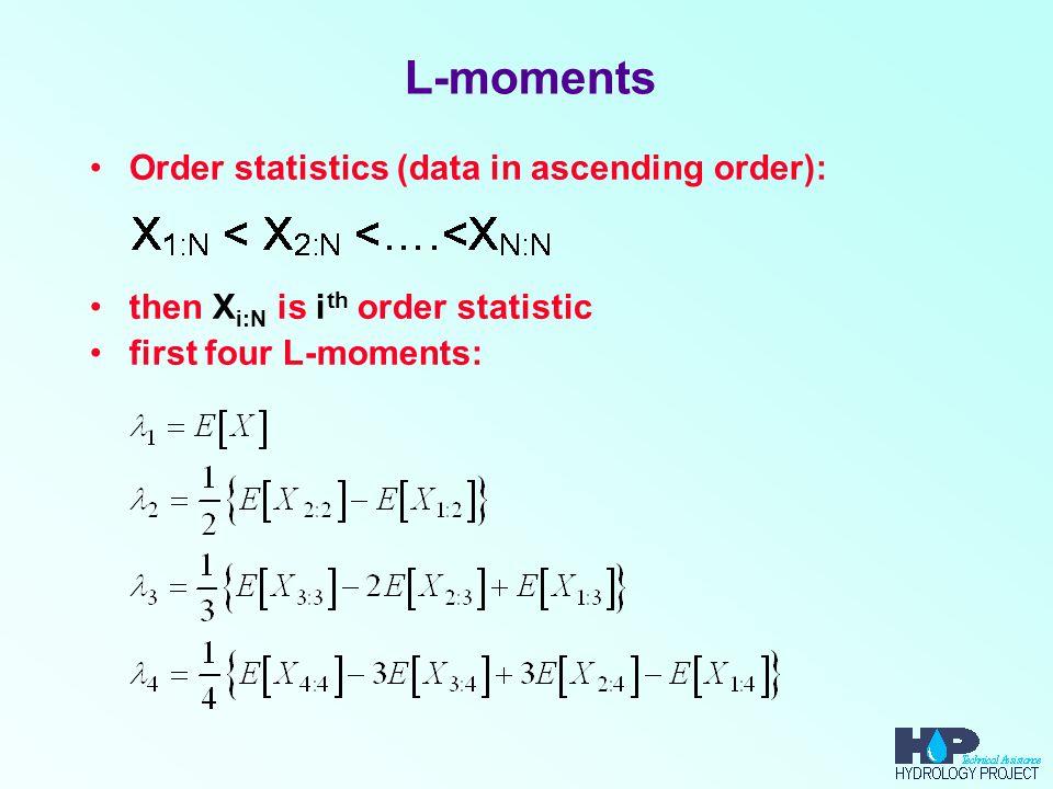 L-moments Order statistics (data in ascending order):