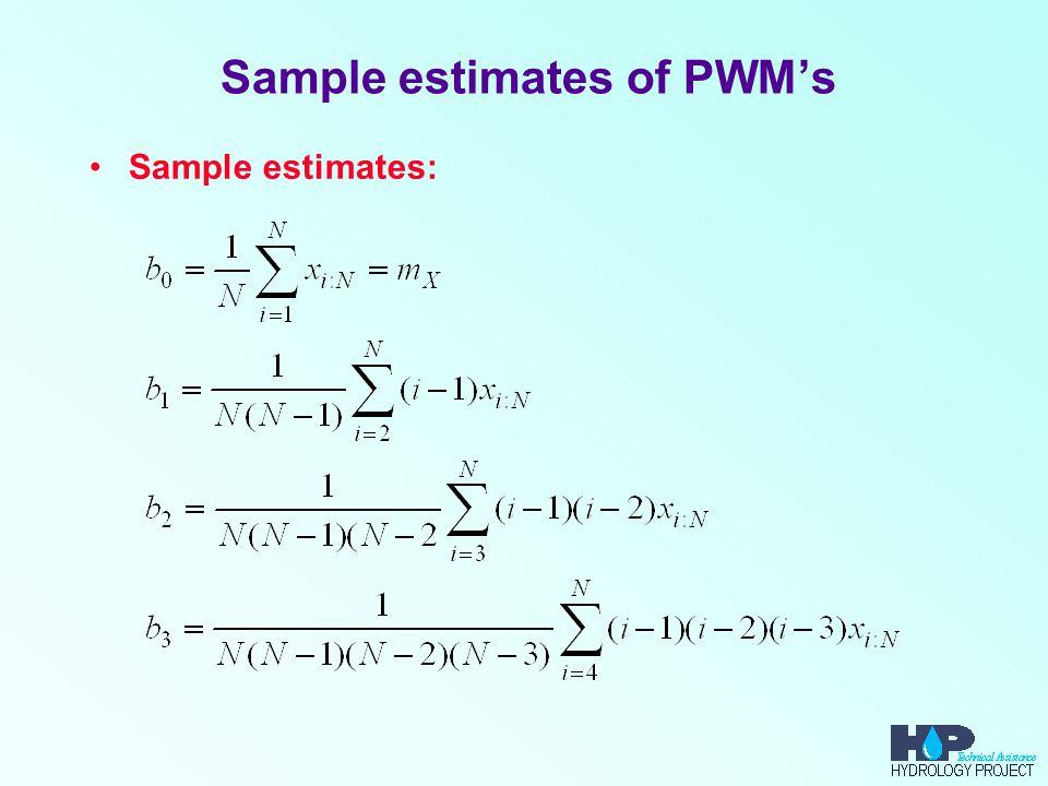 Sample estimates of PWM's