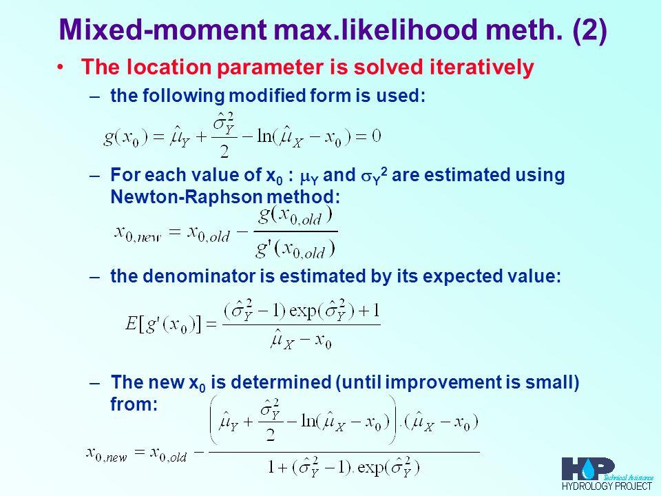 Mixed-moment max.likelihood meth. (2)