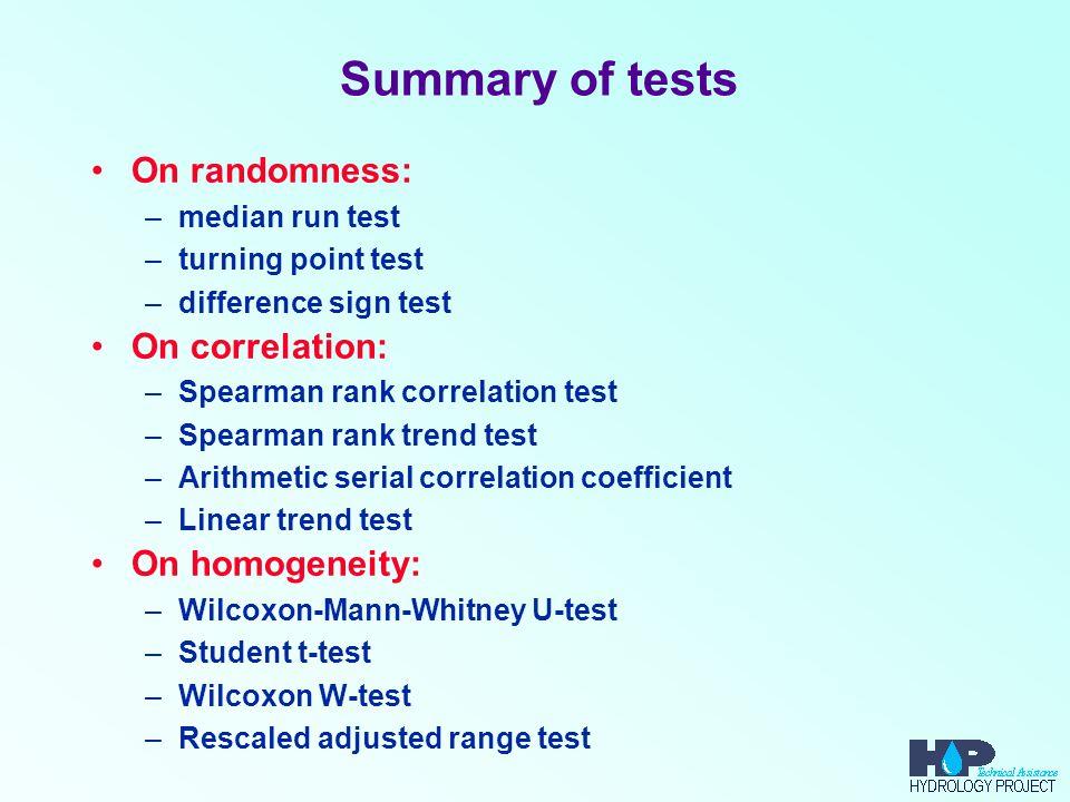 Summary of tests On randomness: On correlation: On homogeneity: