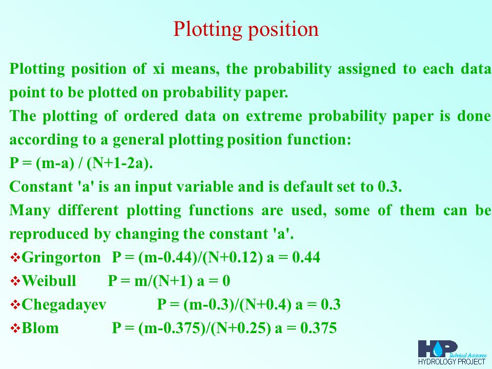 Plotting position Plotting position of xi means, the probability assigned to each data point to be plotted on probability paper.