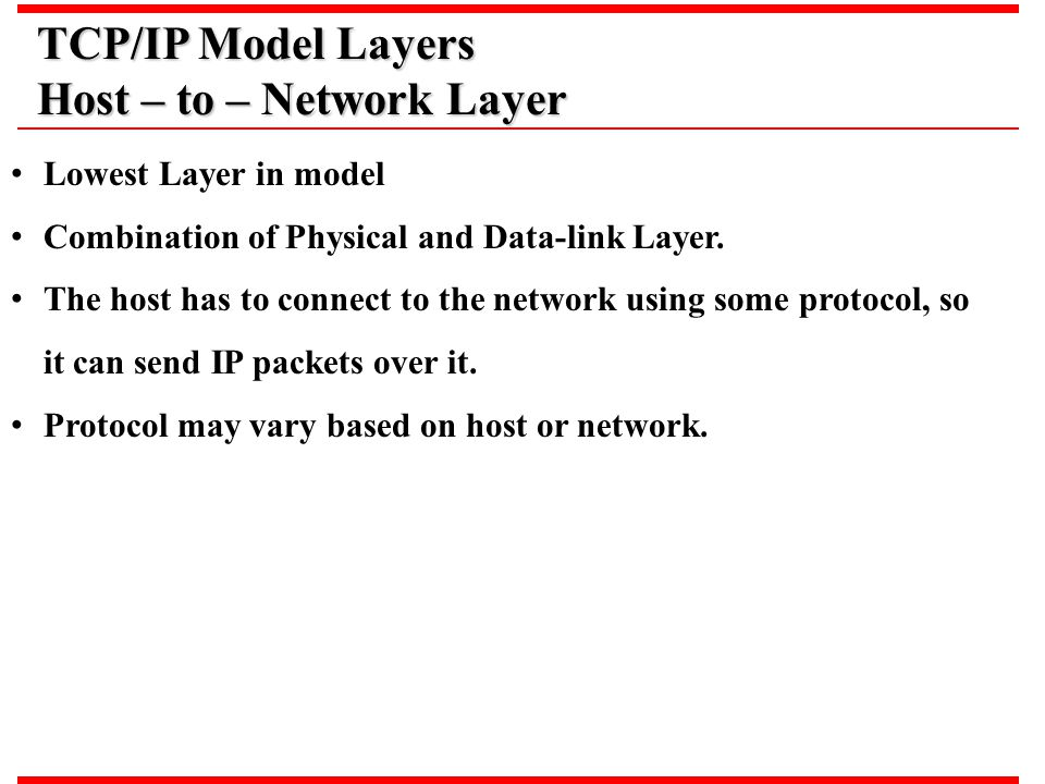 Host – to – Network Layer