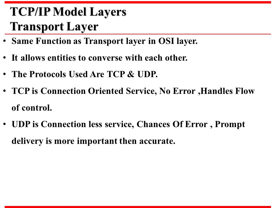 TCP/IP Model Layers Transport Layer