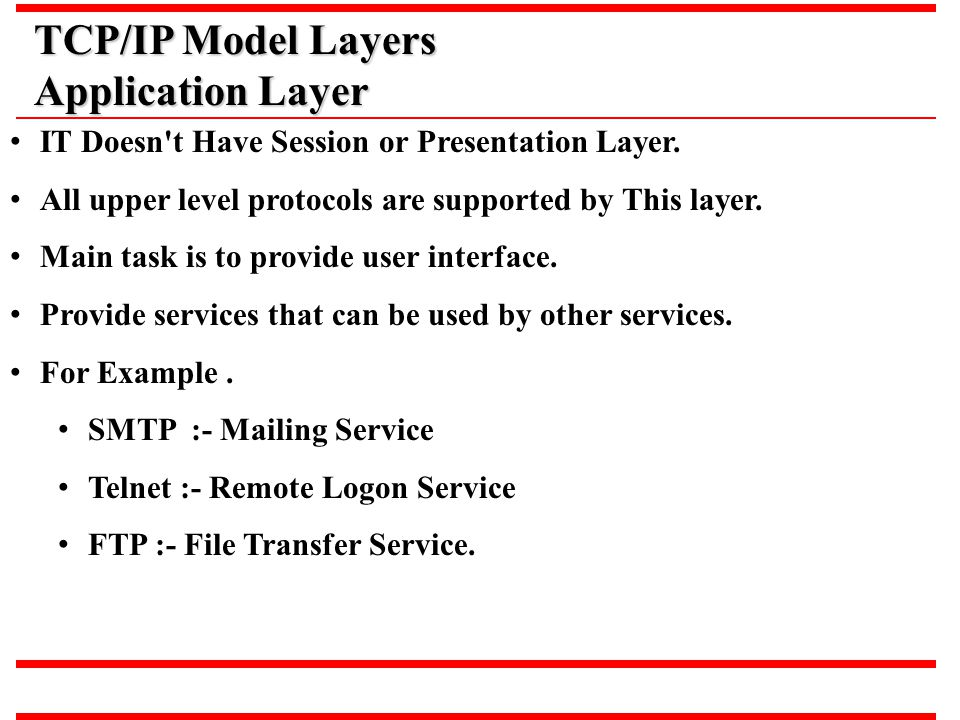 TCP/IP Model Layers Application Layer
