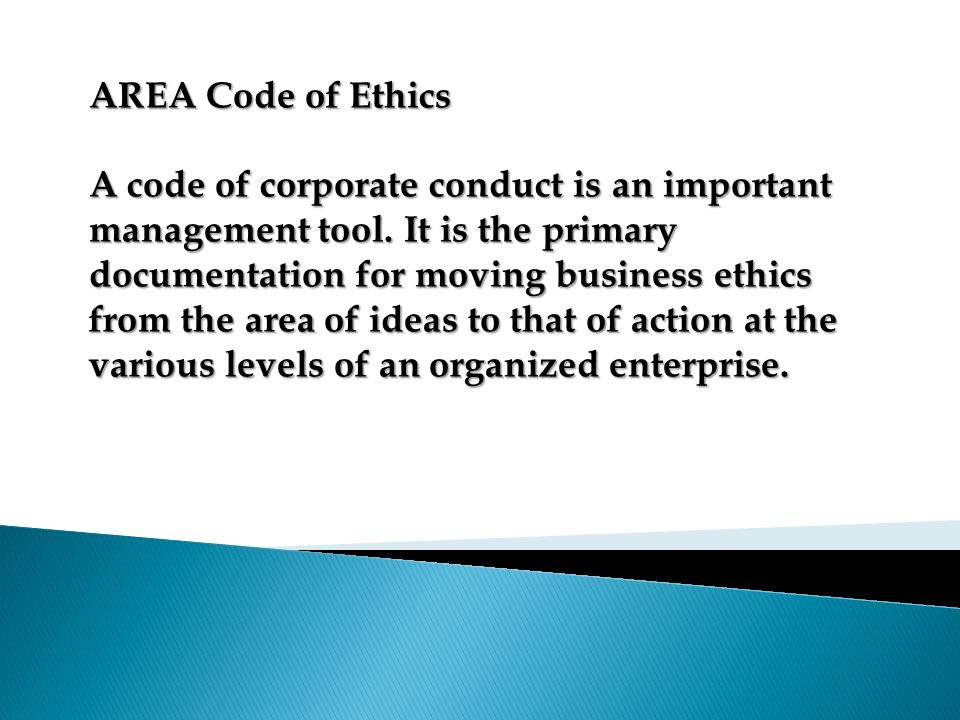 AREA Code of Ethics