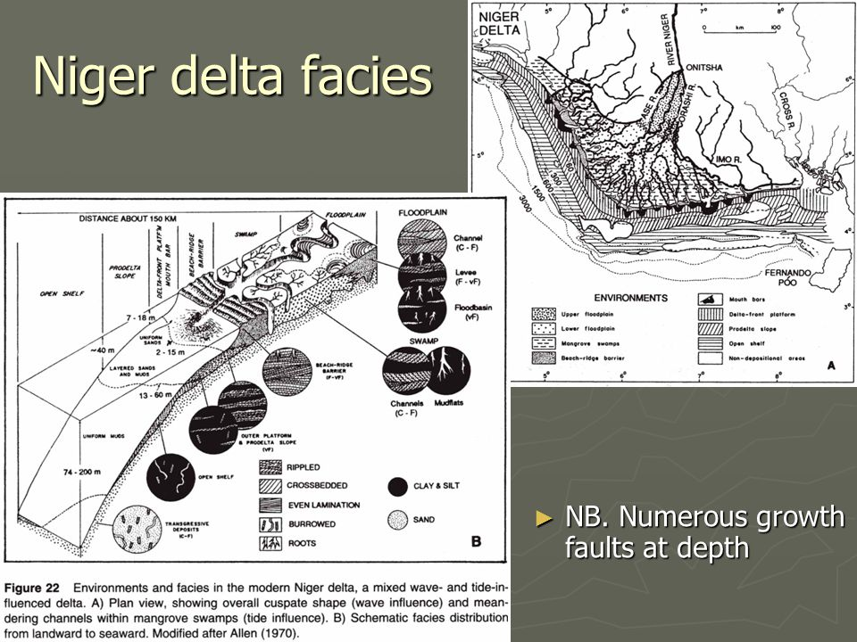 Niger delta facies NB. Numerous growth faults at depth