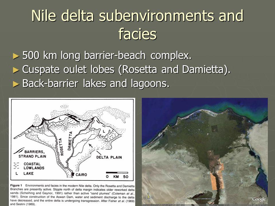 Nile delta subenvironments and facies